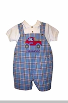 GOOD LAD  Boys Blue Plaid Fire Truck Shortall Set  - sold out