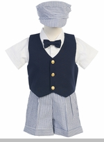 Boys Eton Suits- Navy and White Seersucker Shorts and Hat - sold out