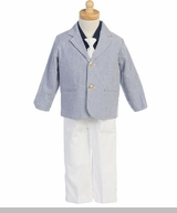 Boys Ring Bearer Seersucker Suit with White Pants SOLD OUT