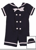 Infant Boys Sailor Suit With Hat - Navy - SOLD OUT