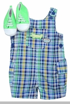 Vitamins Baby Boys Green and Blue Plaid Alligator Overall  SOLD OUT