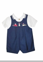 Boys Navy Linen Embroidered Shortall Set - 6/9 month