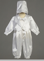 Boys Christening Satin Long Romper with Vest / Jacket