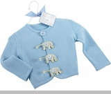 Newborn Boys Cardigan Sweater - Blue Elephant  0-6 month