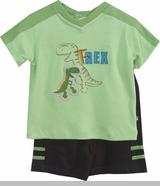 Absorba Baby Boys Dinosaur Short Set -  T Rex  CLEARANCE FINAL SALE