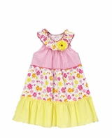 Girls Smocked Sundress - Fuchsia/ Yellow Multi Print Smocked Dress