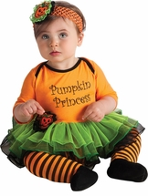 Baby 1st Halloween Costume -  Orange Pumpkin Princess Costume Set