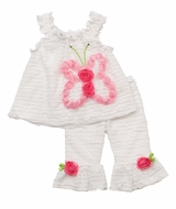 White Eyelash Set with Pink Butterfly Rosette Applique
