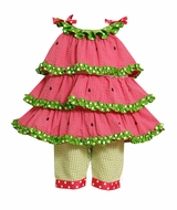 Newborn to Girls 6X : Watermelon Tiered Tunic Pant Set