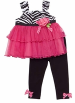 Rare Editions Baby Tunic and Legging Set - Fuchsia Zebra