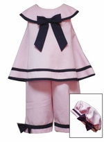 Pink Sailor Capri Set with Hat