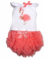 Mud Pie Baby Flamingo Chiffon Diaper Cover Set