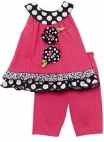 Fuchsia Capri Set With Flower Applique