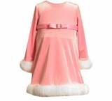 INFANT Pastel Pink Velour Dress - Fur Trim  SALE!