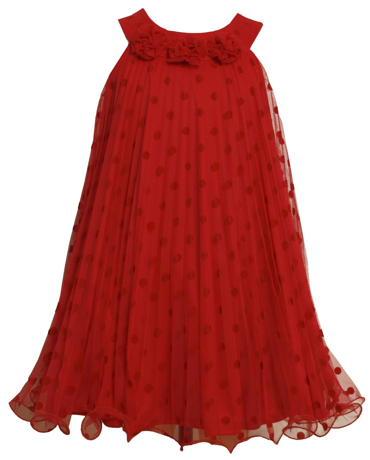 Bonnie Jean Girls Party Dress - Red Pleats Dots and Roses Infant to Girls 10