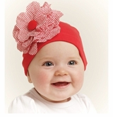 Flower Interlock Baby Hat - RED
