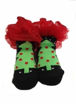 Baby Christmas Socks - Black Christmas Tree with Red Ruffles  (fits 0-12 month)