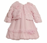 Pink Mesh Infant Dress with Fur Jacket