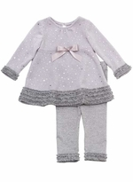 Rare Editions Infant Dressy Silver Sparkle Ruffles Knit Set