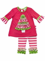 Rare Editions Christmas - Fuchsia Ruffle Tree and Stripe Pant Set