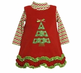 Girls Zigzag Striped Fleece Christmas Dress - Final Sale