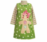 Girls Christmas Dress -  Green Fleece Gingerbread Man Dress