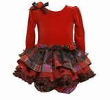 Baby Holiday Dress  -  Red Velour with Plaid Tiers