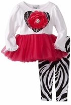 Mud Pie Black Lace Heart and Flower Tunic Set with Zebra Legging