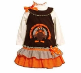 Thanksgiving Turkey Jumper Dress and Ivory Knit Top 3-6 month