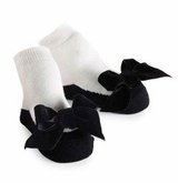 Black Velvet Bow Socks for Baby Girls