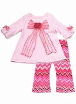 Newborn or Toddler  Girls Clothes Fall Couture - Fuchsia Zig Zig Bow Tunic Set