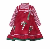 Baby or Girls Christmas Dress - Red Candy Canes Size  SOLD OUT