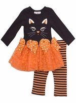 Girls Halloween Outfit - Black Cat Tutu Pant Set