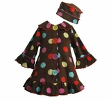 Infant or Girls Coats - Brown Dot Coat Set with Hat
