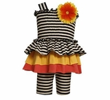 Baby Girls Smocked Black Stripe Daisy Tiered Short Set