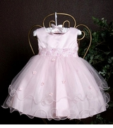 Baby Dress - PINK Organza Tiered with Headband