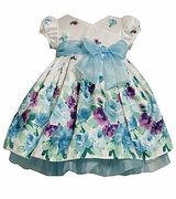 Newborn Baby Dress - Aqua Floral 6/9 month