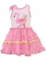 Girls Tutu Dress - Rare Editions Flamingo
