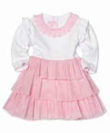 Infant or Toddler PInk Chiffon Tiered Party Dress   SALE