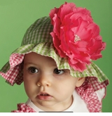 Green Gingham Sunhat with Detachable Flower (Reversible!)