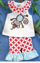 Little Girls Monkey Tunic and Legging Set