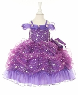Baby or Little Girls Pageant Dress - Princess Star Glitter Purple SOLD OUT