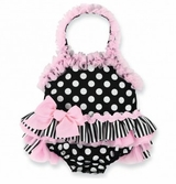 Infant or Toddler Girls Deluxe Bathing Beauty Swimsuit - Perfectly Princess !