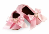 Pink Leather Jeweled Heart Baby Shoes  - sold out