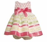 Bonnie Jean Summer Dress - Pink Ribbon Stripes