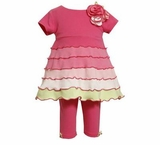 Infant or Toddler Girls Pink Colorblock Knit Pant Set