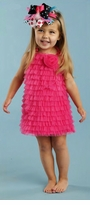Mud Pie Dress - Hot Pink Chiffon Ruffles girls dress