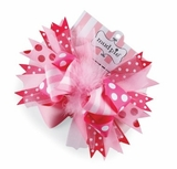 Pink Maribou Hair Bow Clip
