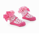 Girl Pink Hearts On White Sock 0-12 Months  - NEW!