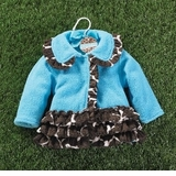 Mud Pie Blue Giraffe Coat  2-3T
